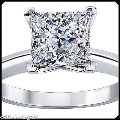 Lara 1.00CT PRINCESS Diamond VVS1 D Solid 14K White GOLD Engagement Wedding Ring