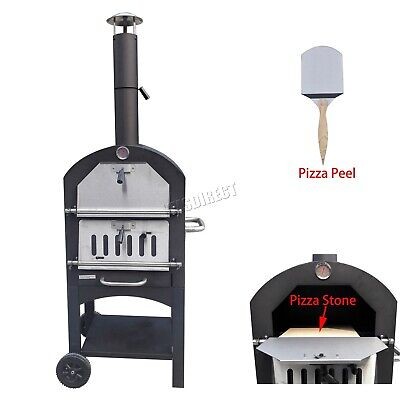 HEATSURE Outdoor Steel Pizza Oven With Stone Wood Fired BBQ Grill POS01 Black