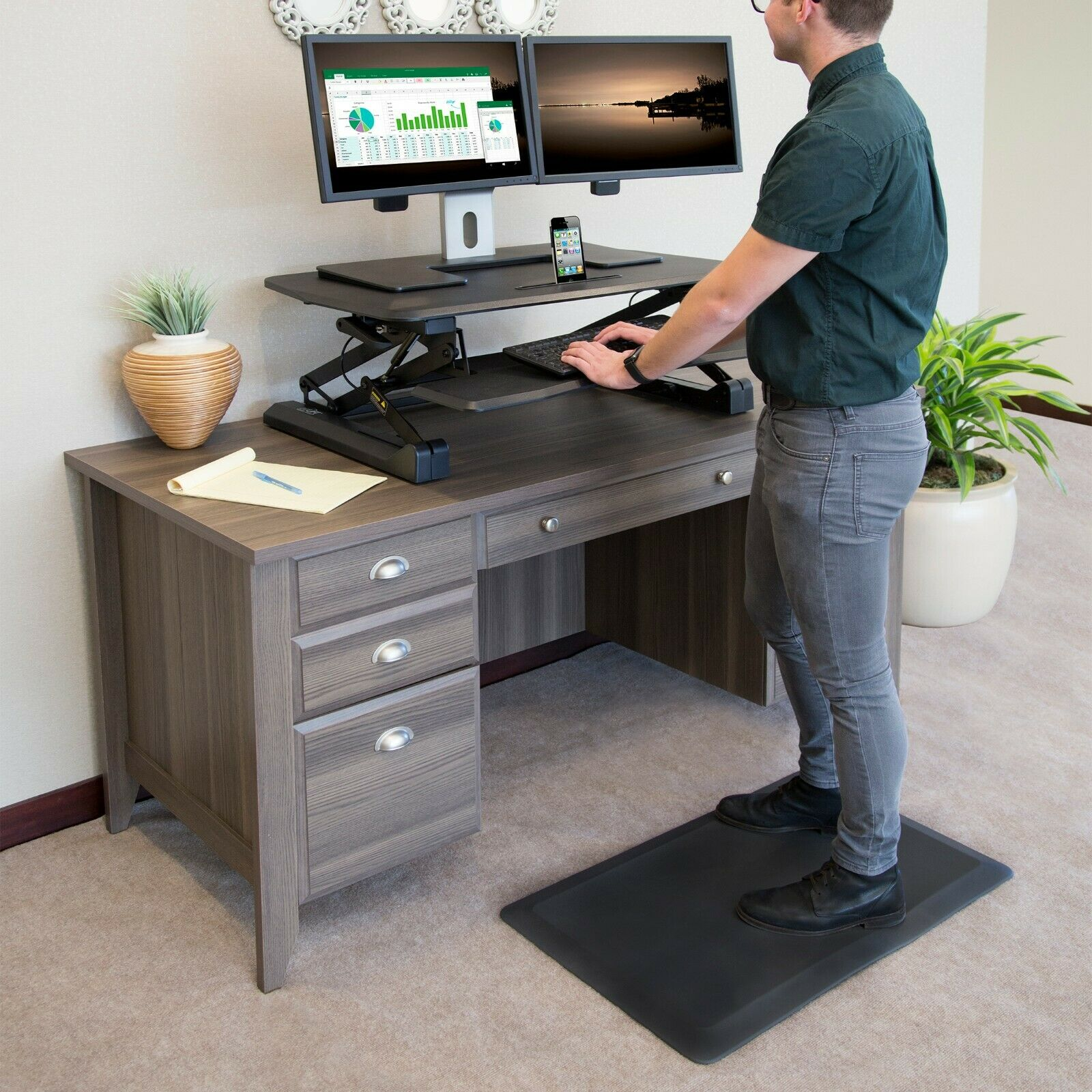 "SEVILLE CLASSICS AIRLIFT ANTI-FATIGUE COMFORT MAT FOR STANDING DESKS,20"" X 32"" Door Mats & Floor Mats"