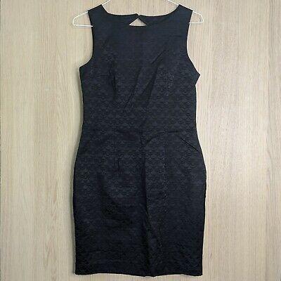 H&M Sz 12 Sheath Dress Black Scallop Back Cut Out Sleeveless Career LBD
