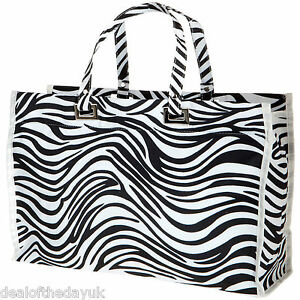 Large Zip Shopping Beach Bag Animal Print Shopper Tote Reusable Leopard Zebra
