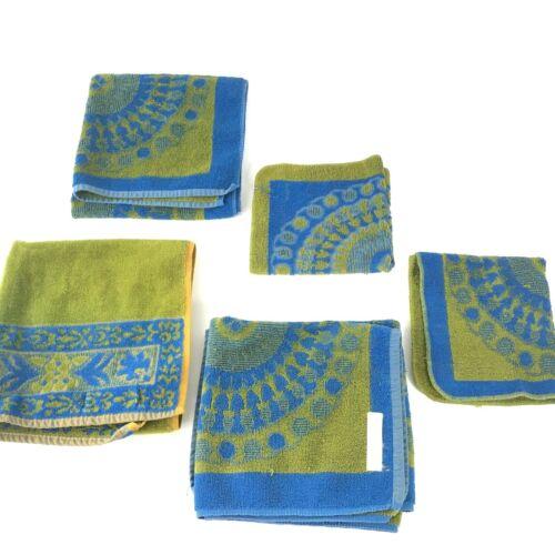 Five Stevens Fabrics Utica Green and Blue Vintage Hand Towels *READ DESCRIPTION*