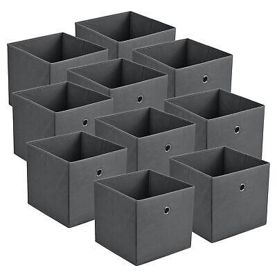 10x Faltbox Aufbewahrungsbox Regalkorb Faltkiste Einschubkorb Spielkiste Grau