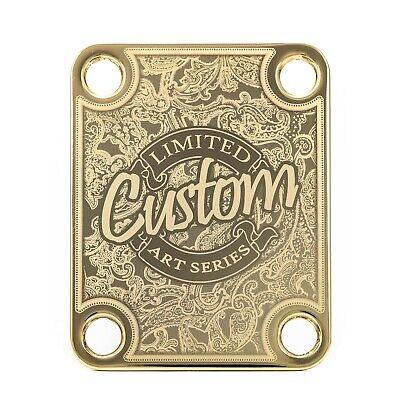 Engraved Guitar Neck Joint Heel Plate Standard 4 Bolt GOLD #2059
