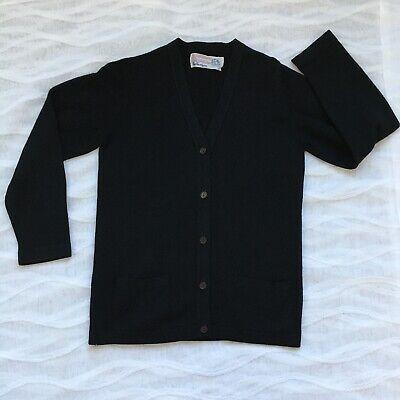 Vintage Ballantyne Black Thick 100% Cashmere Cardigan Made In Scotland EUC