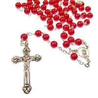 Católica Rojo Pintada Cuentas Plateado Metálico Strong Rosario Granos En Un -  - ebay.es