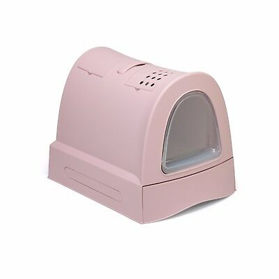 Litter Tray Cat Covered Fast Cleaning with Schiebefach Pink
