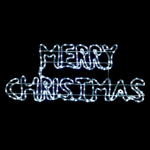 Twinkling White LED Merry Christmas Rope Light Sign Indoor/Outdoor Decoration