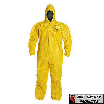 Dupont Tychem Tyvek Qc127s Yellow Coverall Chemical Hazmat Suit 1 Each Sz M-4x