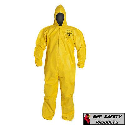 Dupont Tychem Tyvek Qc127s Yellow Coverall Chemical Hazmat Suit 1 Each Sz M-4x