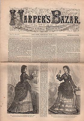 1872 Harper's Bazar June 1-French weddings and funerals; Parasols; Paletots