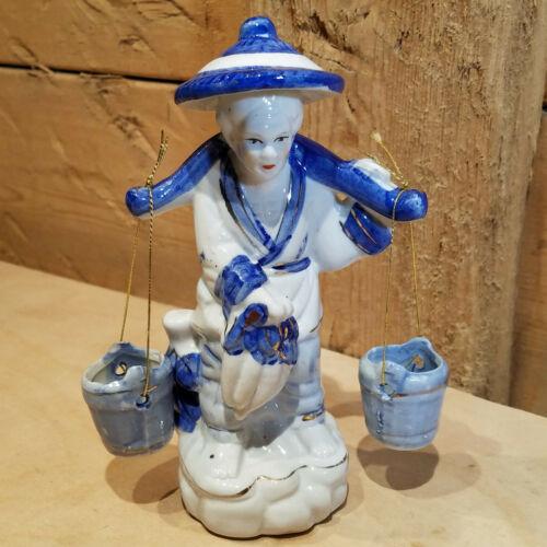 "Oriental Asian Man Carrying Water Buckets Blue White Ceramic Vtg 6""- Swanky Barn"