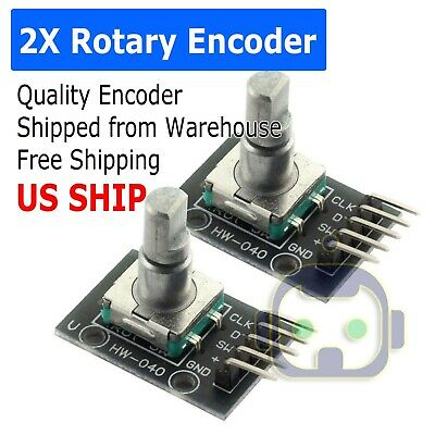 2x Rotary Encoder Digital Potentiometer 20mm Knurled Shaft With Switch Usa