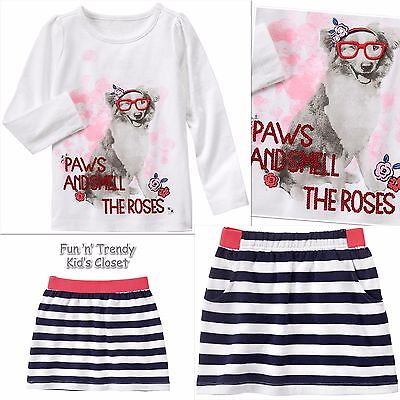 NWT Gymboree BEST IN SHOW Girls Size 5 6 Dog Tee Shirt Top & Skirt 2-PC OUTFIT