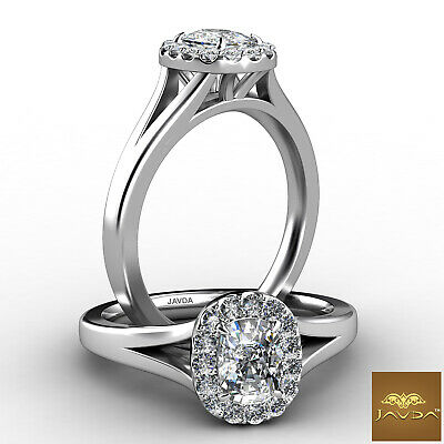 Halo Split Shank Cushion Cut Diamond Engagement U Pave Set Ring GIA F VS2 0.7Ct