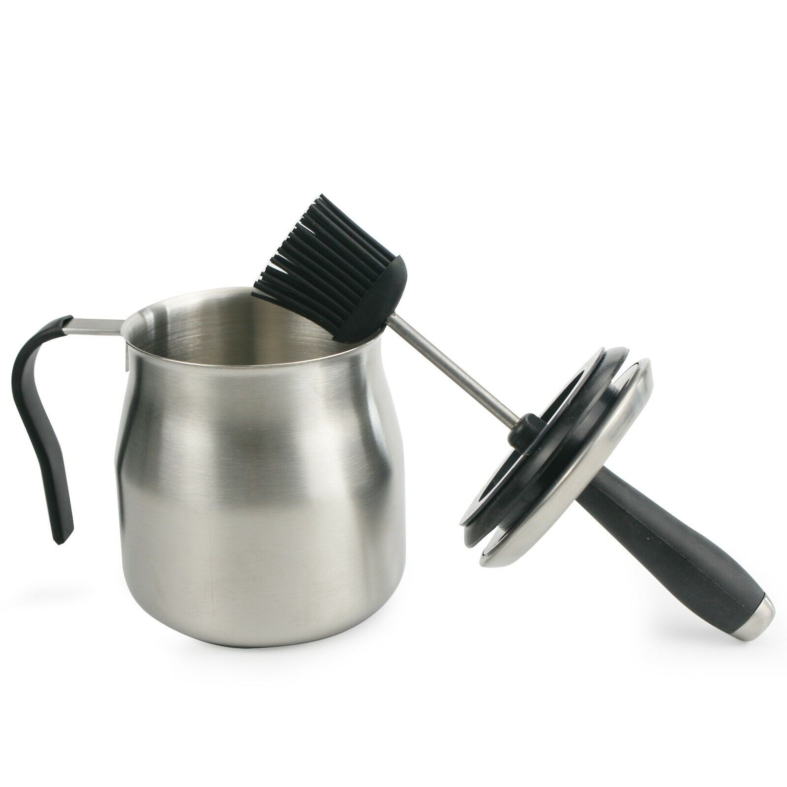 bbq stainless steel sauce pot with silicon