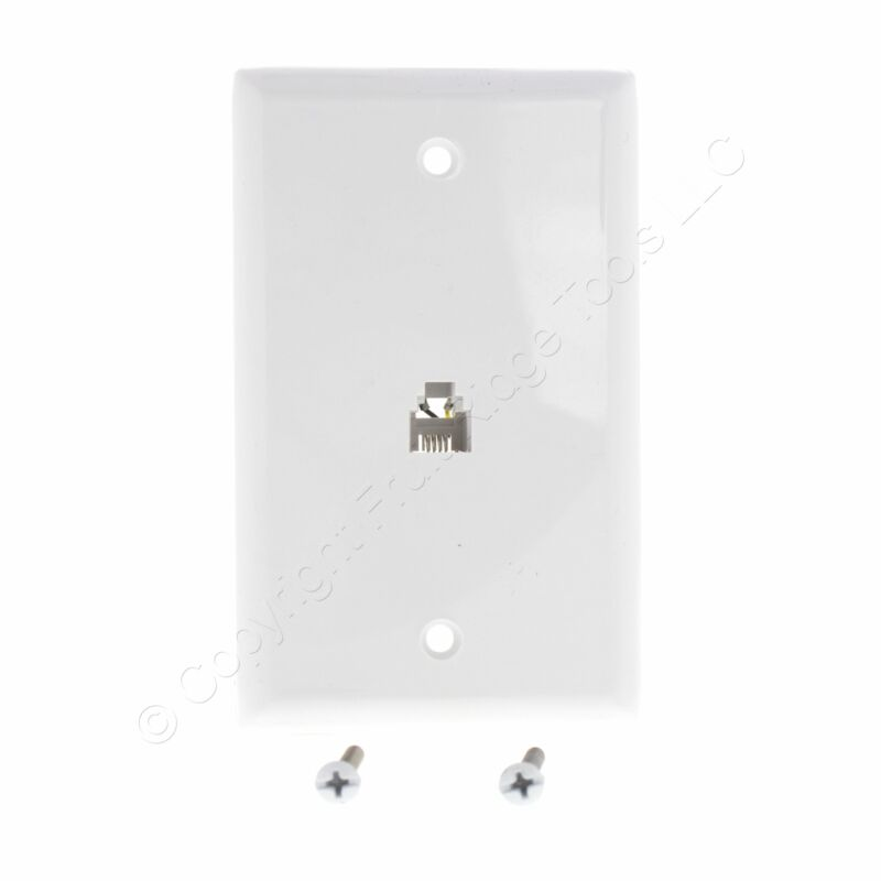 New Eaton White Flush Mount Phone Jack Wall Plate 4-Conductor Telephone 3532-4W