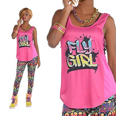 Fly Fancy Dress (Womens Hip Hop Rapper Fly Girl Graffiti Street Tank Top Vest Fancy Dress Size)