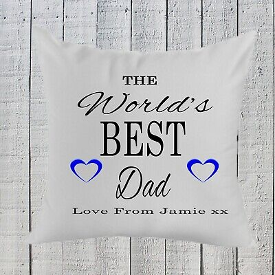 Personalised Fathers Day Worlds Best Dad Pillow Gift, Birthday ,Dad ,Grandad  (Best Dad Pillows)