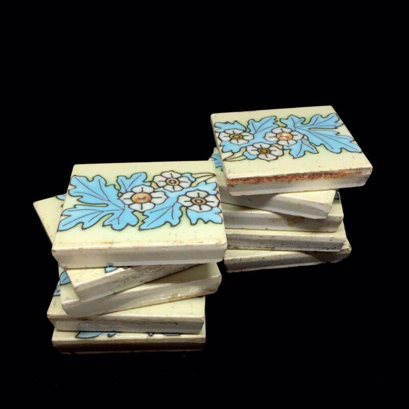 Antique Art Nouveau Floral Tile 1900s / Antique Ceramic Tile Set Of 10