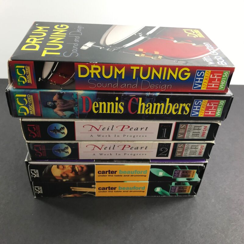 Lot of 6 Drum VHS Tapes Rush Neil Peart Work In Progress, Carter Beauford +more