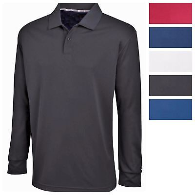Champion Mens Ultimate Double Dry Long Sleeve Polo Premium Casual Golf Shirt