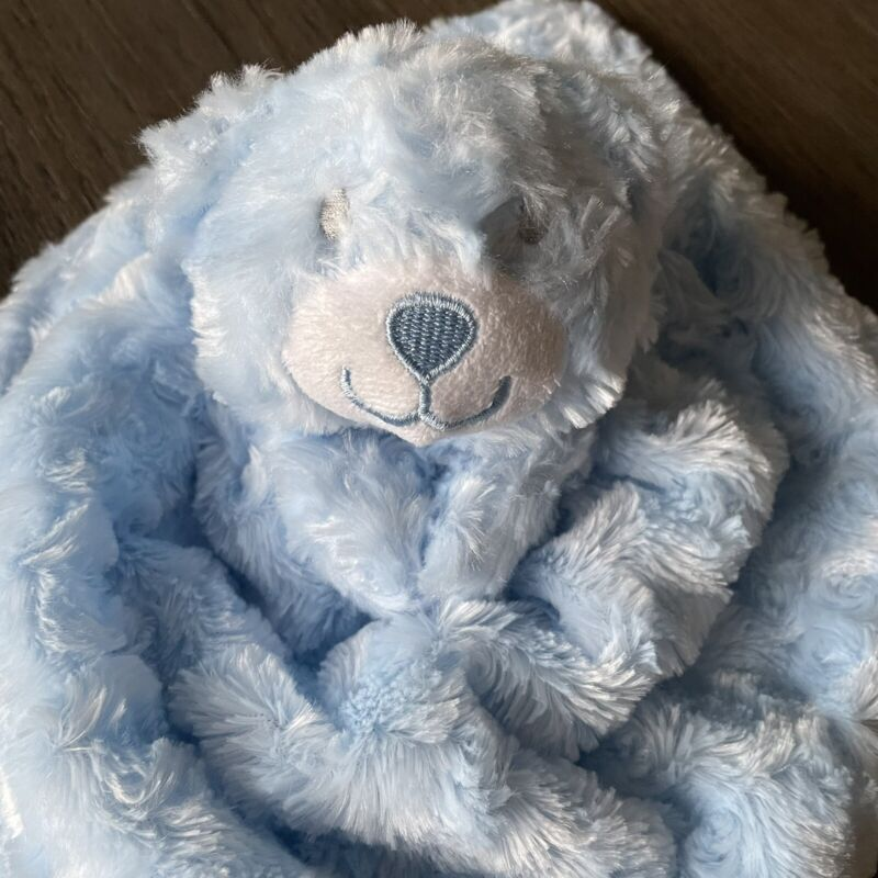 LITTLE BEGINNINGS BLUE MINKY DOT SHERPA BEAR SECURITY BLANKET LOVEY SOFT FACE