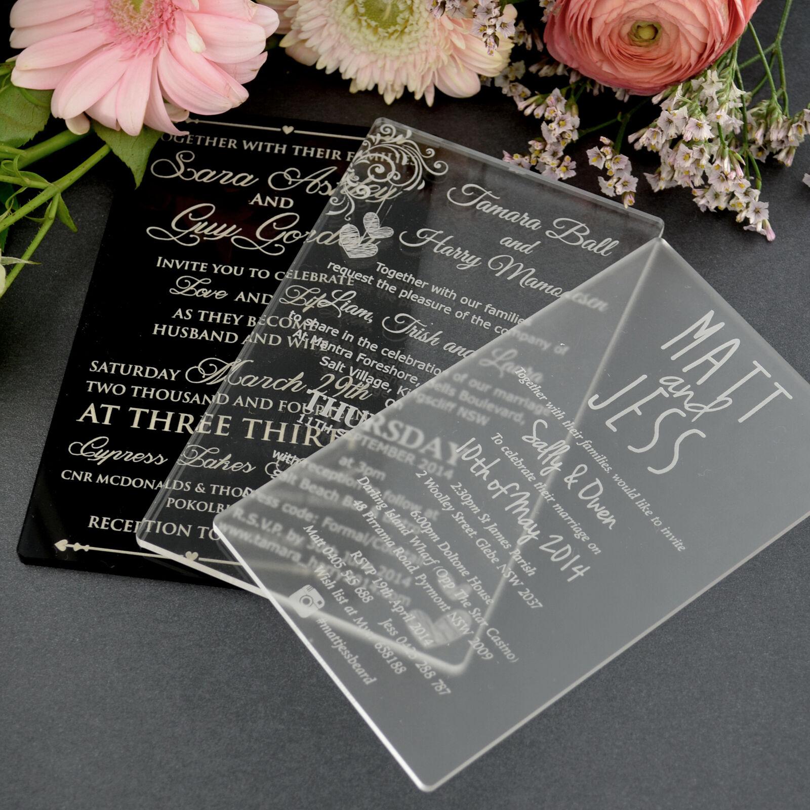 Personalised Favours Acrylic Wedding Invitations 11b