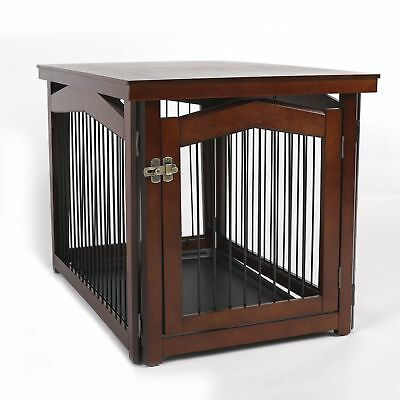 Pet Crate End Table For Large Dog Security Gate Kennel Brown Furniture Puppy Cat