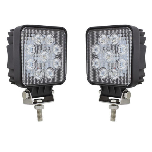 Square HP 9 LED Competition Series Stud Mount Work Light Off Road ATV 4WD Pair