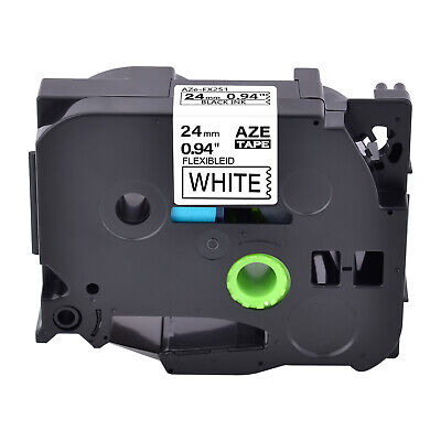 24mm Compatible For Brother Tz Tze-fx251 P-touch White Flexible Label Tape 1pk