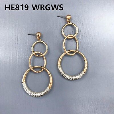Rose Gold Finished Hammered Circle Link Silver Wired Design Drop Dangle Earrings