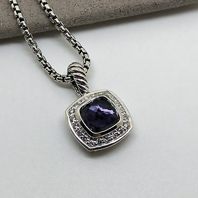 David Yurman Petite Albion Pendant Necklace with Black Orchid and Diamonds 17