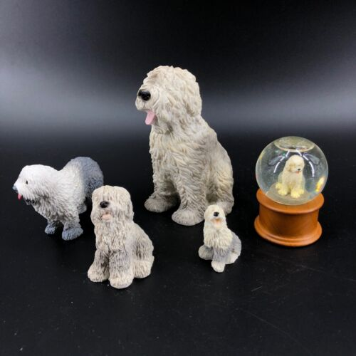 5 Vintage Sheep Dog Figurines Snow Globe Russ Germany Schleich Collectible Dogs