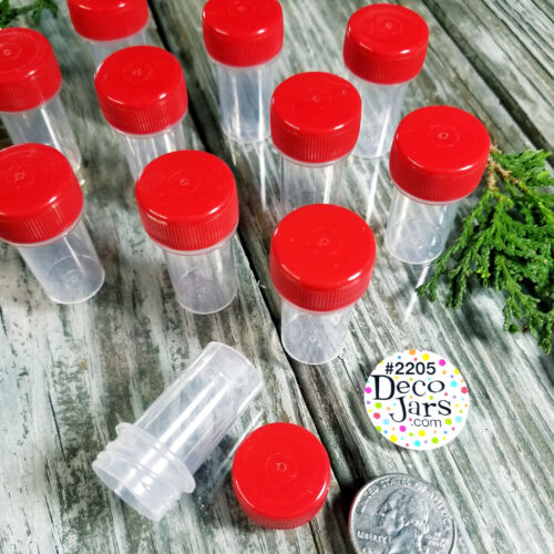 40 Tiny Tubes Vial RED CAP Container Mining Powder Herbs Geocache 2205  DecoJars