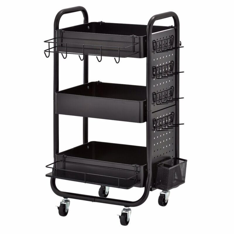Three Tier Metal Rolling Craft Organizer Storage Cart Arts Crafts Wrapping Tools