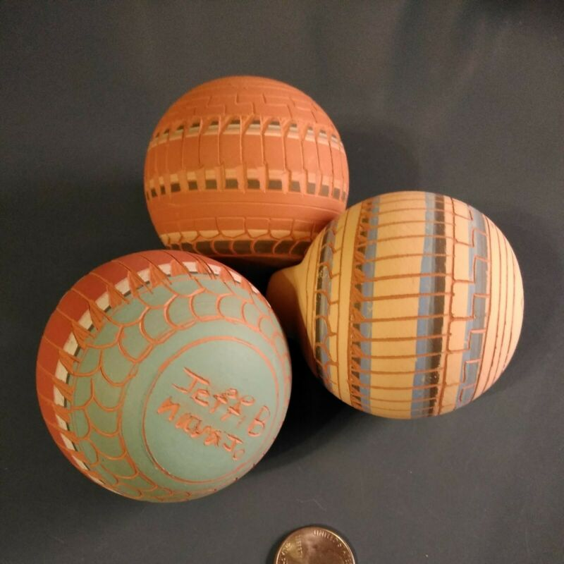 navajo etched pottery Christmas Ornament. Signed. Set of 3.