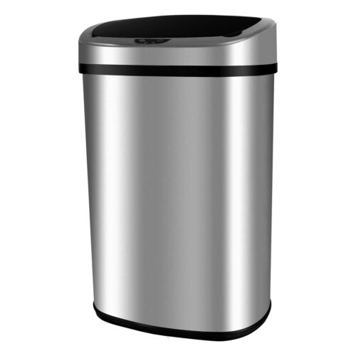 Modern 13 Gallon Touch-Free Sensor Automatic Stainless-Steel Trash Can Kitchen