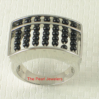 Genuine Black Onyx Abacus Designed Solid 925 Sterling Silver Ring - TPJ