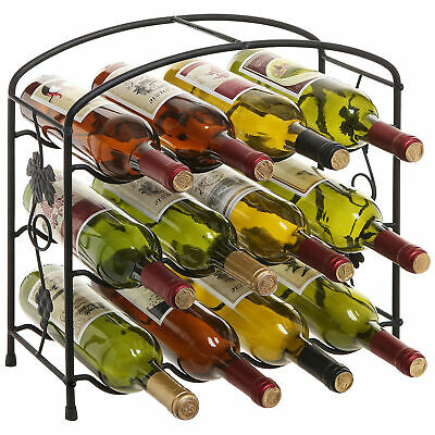 Grapevine Black Freestanding Metal 12 Bottle Wine Storage Shelf Rack Holder
