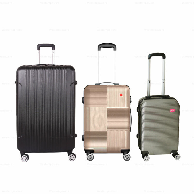 """3 Pcs Luggage 28"""" 24"""" 20""""ABS 360° Wheels Spinner Trolley Suitcase Travel Luggage"""
