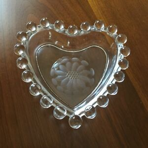 Clear Hobnail Heart Shaped Dish