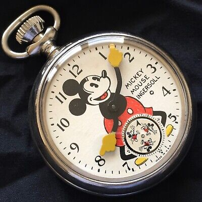 INGERSOLL ORIGINAL 1930s MICKEY MOUSE POCKET WATCH - NEAR MINT ORIGINAL DIAL