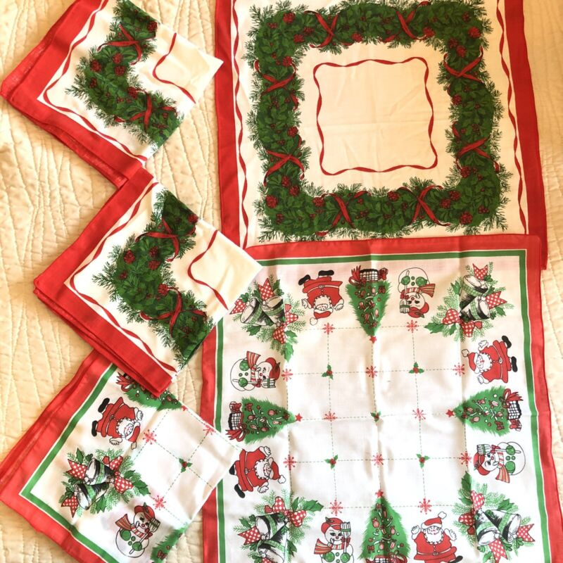 Vintage Cloth Christmas Napkins Holly Pine Wreath Snowman Santa Tree Red Green