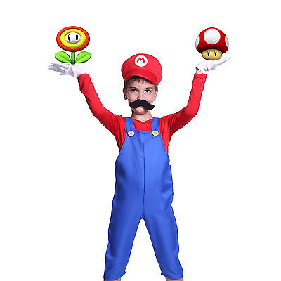 Boys Super Mario Bros Fancy Dress Workman Uniform Book Week Carnival Outfit Set - Mario Bros Outfit