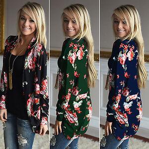 Mujer-Floral-Cardigan-Camiseta-cruzada-Mangas-Largas-Abrigo-Informal-Sueter