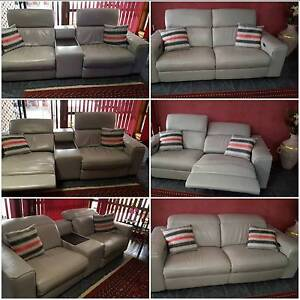 Silver Grey leather lounges Whyalla Stuart Whyalla Area Preview