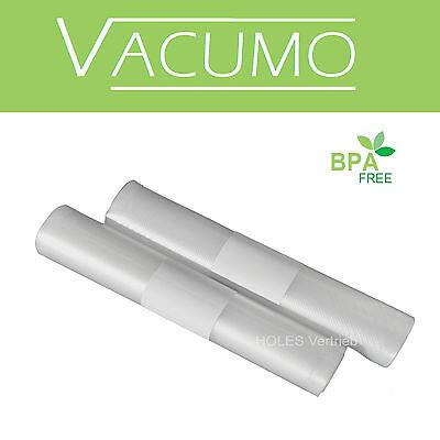2 Rollen VACUMO Vakuumfolie je 28 x 600 cm Vakuumrollen goffriert Vakuumbeutel