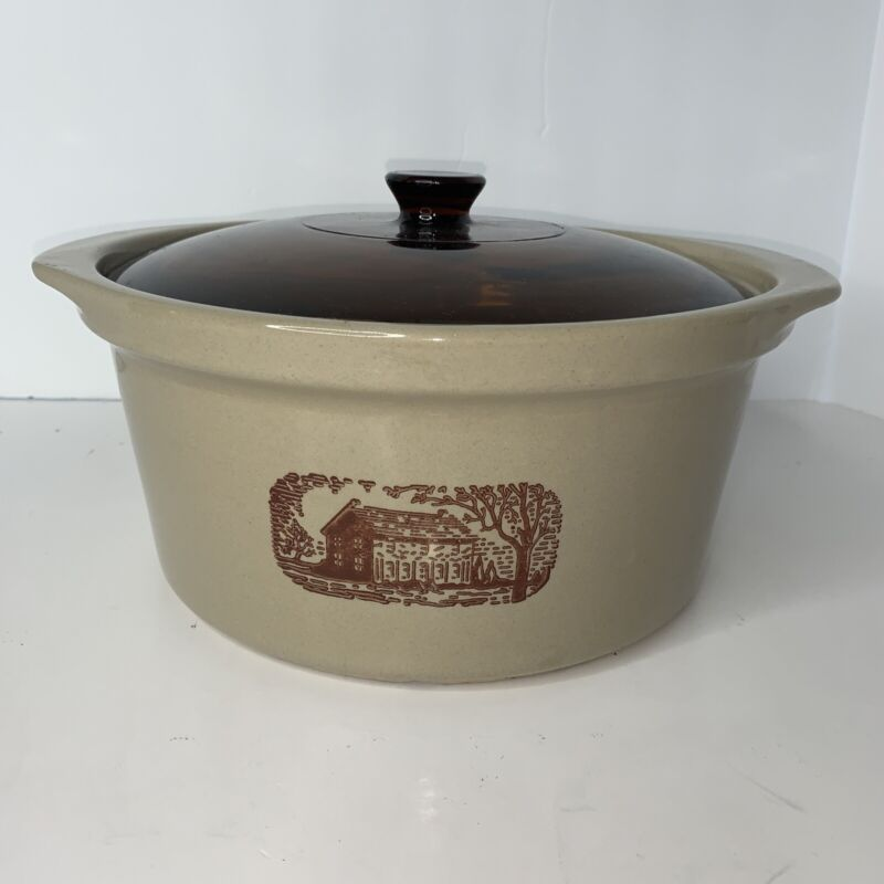 Amana Radarange Western Stoneware Microwave Crock Pot Country Cooker w/ Lid