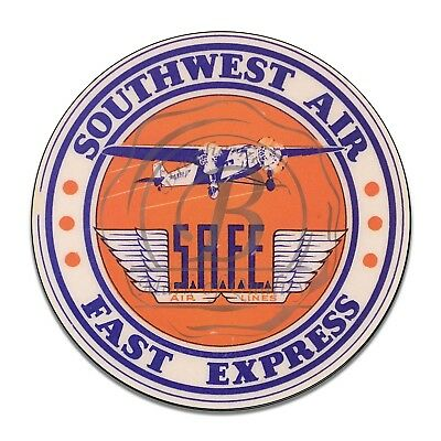 Southwest Air Fast Express Air Lines Reproduction Circle Aluminum Sign